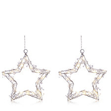 Home Reflections Set of 2 Pre-lit Hanging Stars