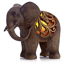 Bella Notte Elephant Luminary Flameless Candle & Holder Set