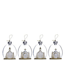 Home Reflections Set of 4 Pre-lit LED Winter House Scene Decorations