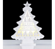 Home Reflections Pre-lit LED Merry Christmas Wooden Tree