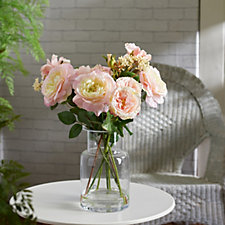 708068 - Peony Roses & Seed Head Spray in Contemporary Glass Vase