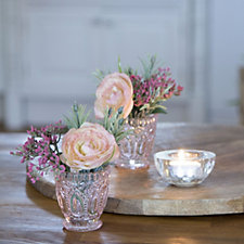 Peony Set of 2 Ranunculus Achellia & Thyme in Cut Class Vase