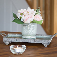 Peony Hydrangea Ranunculus & Foliage in Footed Antique Style Vase