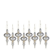 Alison Cork Set of 8 Champagne Finial Heart Decorations