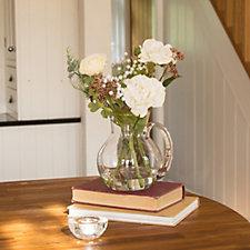 Peony Roses Ranunculus & Foliage in a Glass Jug
