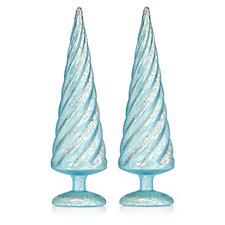Home Reflections Set of 2 Pre-lit Glitter Trees