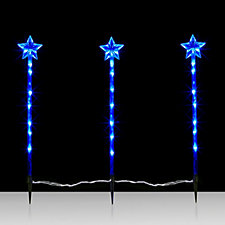 Set of 3 LED Star Ground Stakes