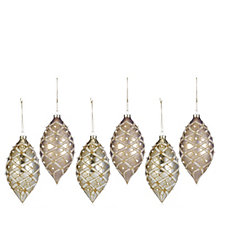 Alison Cork Set of 6 Champagne Finial Hanging Decorations