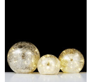Home Reflections Set of 3 Mercury Glass Balls with LED Lights