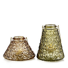 Home Reflections Set of 2 Textured Glass Lanterns