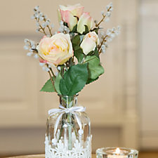 Peony Roses & Acacia in a Lace Bottle Vase