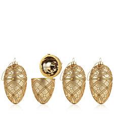 704775 - Alison Cork Set of 4 Gold Festive Egg Decorations