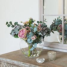 Peony Hydrangeas Eucalyptus & Roses in a Low Bowl