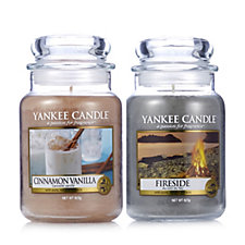 Yankee Candle Set of 2 Large Jars Cinnamon Vanilla & Fireside
