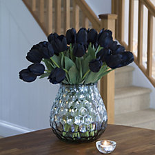 Peony Tulips in Silver Hammered Vase
