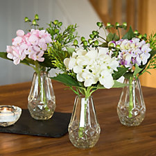 Peony Set of 3 Hydrangeas Berries & Foliage in Glass Bud Vase