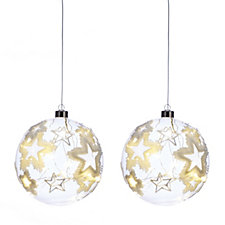 Home Reflections Set of 2 LED Frayed Star Baubles