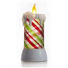 Bethlehem Lights Festive Striped Flameless Candle