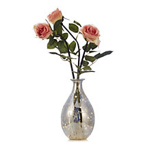 Home Reflections Faux Floral Roses Arrangement in Pre-lit Glass Vase