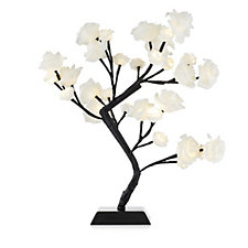 Home Reflections Pre-lit LED White Rose Tabletop Tree