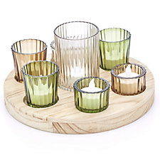 Home Reflections Circular Votive Tray with Holders & 5 LED Candles