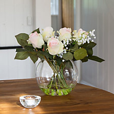 Peony Roses & Gypsophila in a Fishbowl