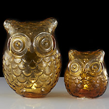 Bella Notte Set of 2 Amber Coloured Glass Owl Luminaries