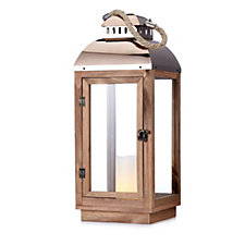 705480 - Home Reflections Rose Gold Tone Lantern With Flameless Candle