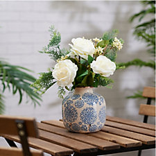Peony Roses & Foliage in Blue & White Bottleneck Vase