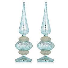 Alison Cork Set of 2 Glass Mercury Embellished LED Trees