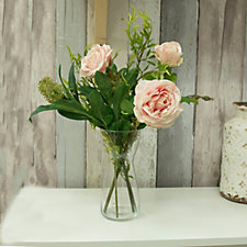 708281 - Peony Roses Skimmia & Foliage in a Concave Vase