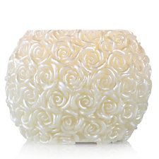 Carved Real Wax Rose Bowl Flameless Candle