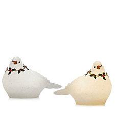 Bella Notte Set of 2 Translucent Christmas Doves