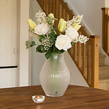 Peony Roses & Tulips Bouquet in an Optic Vase