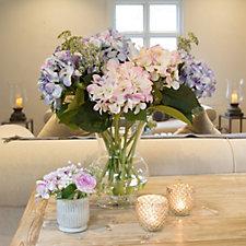Peony Hydrangeas & Patrinia in a Footed Vase
