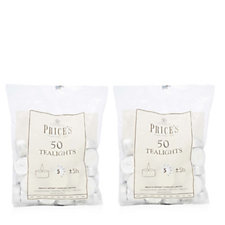 Prices Candles Set of 2 Bags of 50 Tea Lights