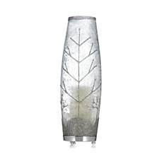 704885 - Bella Notte Feather Coated Glass Hurricane with LED Candle