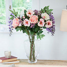 Peony Roses Peonies & Wisteria in a Grecian Vase