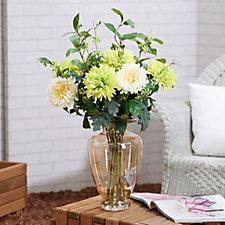 Peony Chrysanthemums & Foliage in Amber Grecian Vase