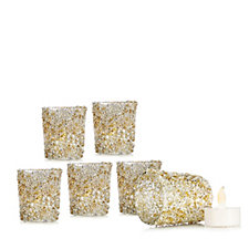 Alison Cork Set of 6 Glitter Glass T-light Holders & Flameless T-lights