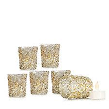 Alison Cork Set of 6 Glitter Glass T-light Holders & Flameless T-lights
