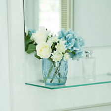 Peony Hydrangea Roses & Foliage in a Floral Embossed Vase
