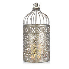 Home Reflections Morrocan Style Metal Lantern with Flameless Candle