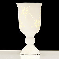 Bella Notte White Porcelain Hurricane with Pillar Candle