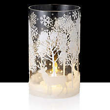 Home Reflections Winter Landscape Glass Candle Sleeve with LED T-lights