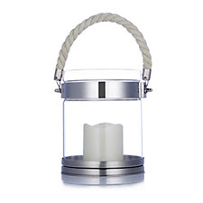 704489 - Home Reflections Circular Lantern with Rope Handle & Flameless Candle