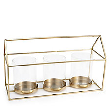 Home Reflections Gold Tone Votive Tray Clear Glass