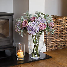 Peony Hydrangeas Roses & Foliage in Large Hourglass Vase