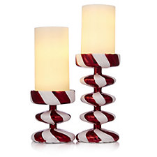 Santa Express Set of 2 Candy Cane Candle Holders with LED Candles