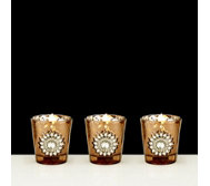 Home Reflections Set of 3 Mercury Glass Votive Holders with LED T-lights